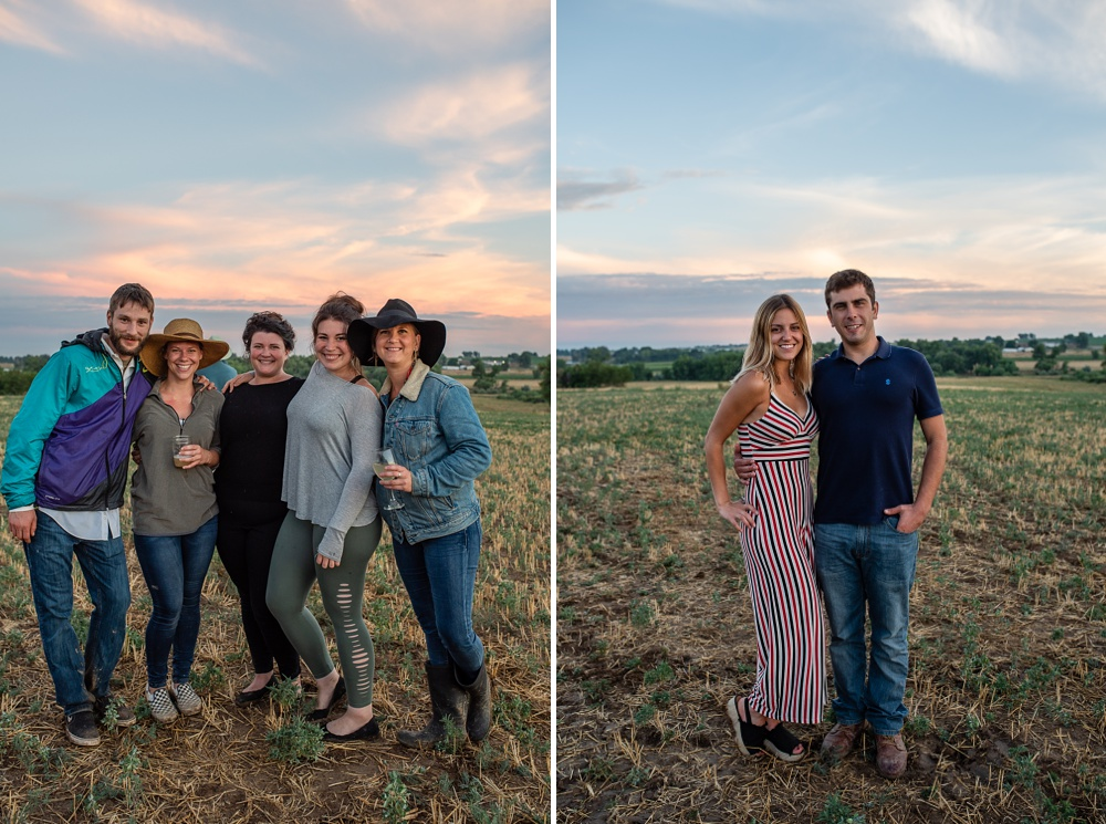 People having fun at the Fortified Collaborations Heart of Summer Farm Dinner at Colorado Stock and Grain Farm in Colorado. Event portrait and Food and Beverage photography by Sonja Salzburg of Sonja K Photography.