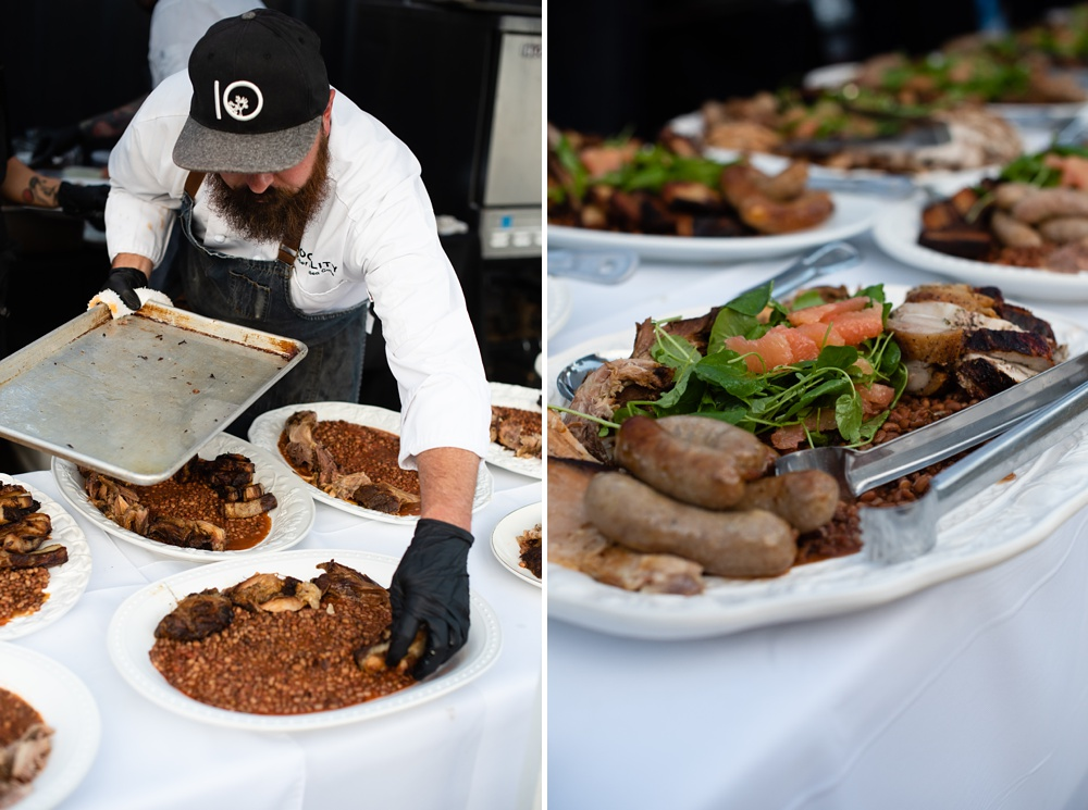 Chef Dryden Goss of Locality puts the final touches on a course at the 2018 Fortified Collaborations Heart of Summer Farm Dinner at Colorado Stock and Grain Farm in Colorado. Food and Beverage and Event photography by Sonja Salzburg of Sonja K Photography.