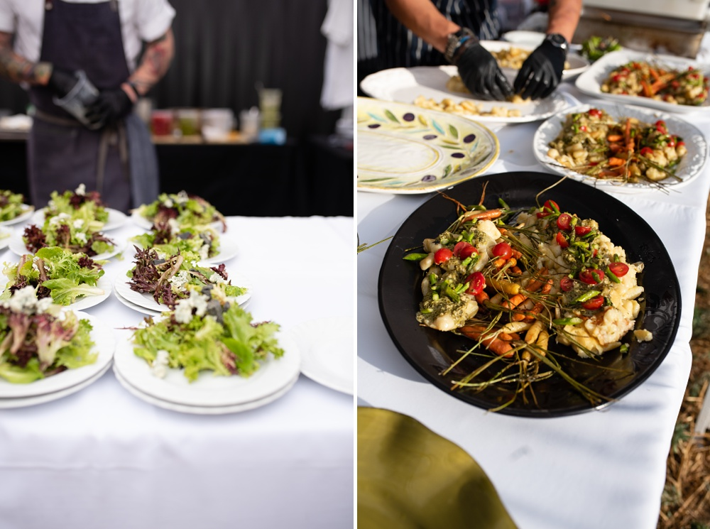 The first and second courses prepared by Chef Dryden Goss of Locality at the Fortified Collaborations Heart of Summer Farm Dinner at Colorado Stock and Grain in Colorado. Food and Beverage and Event photography by Sonja Salzburg of Sonja K Photography.