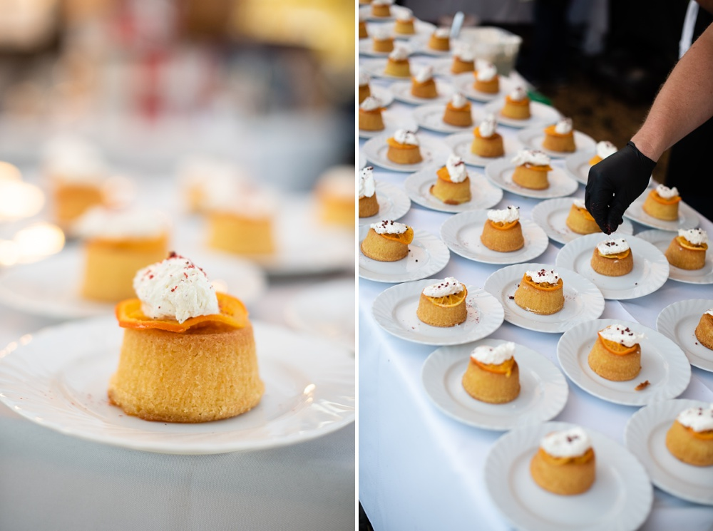 Desserts are prepared and served at the Fortified Collaborations Heart of Summer Farm Dinner at Colorado Stock and Grain Farm in Colorado. Event and Food and Beverage photography by Sonja Salzburg of Sonja K Photography.