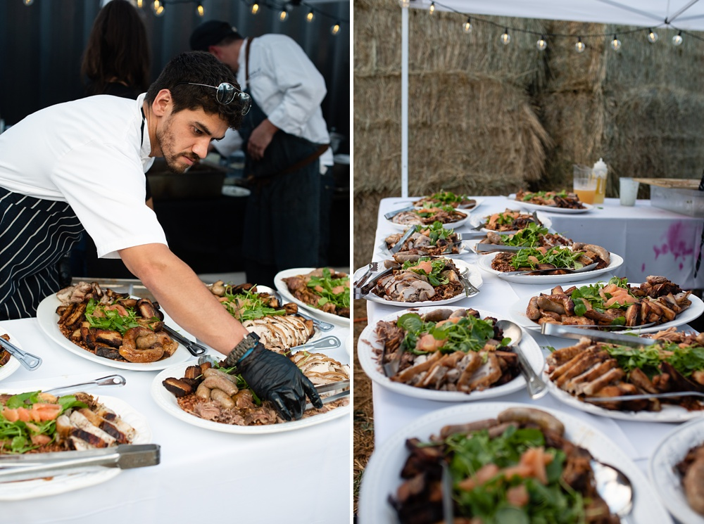Chefs from Locality prepare the main course at the Fortified Collaborations Heart of Summer Farm Dinner at Colorado Stock and Grain Farm in Colorado. Event and Food and Beverage photography by Sonja Salzburg of Sonja K Photography.