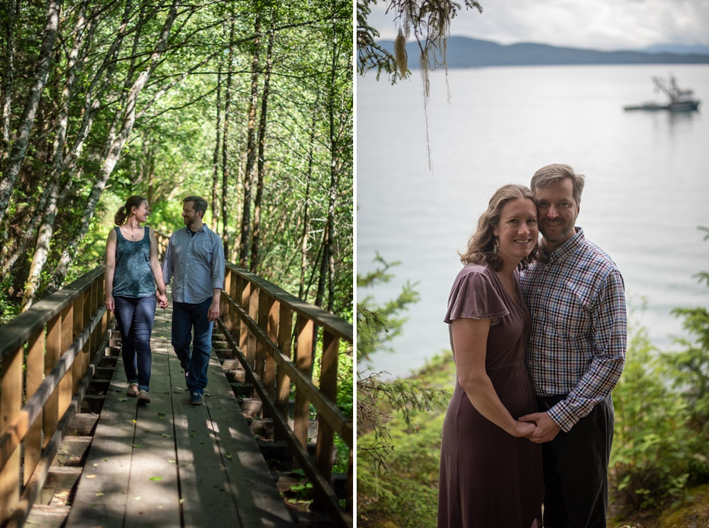 """A young couple at the Flume Trail and """"out the road"""" near Juneau, Alaska. Engagement portrait photography by Sonja Salzburg of Sonja K Photography."""