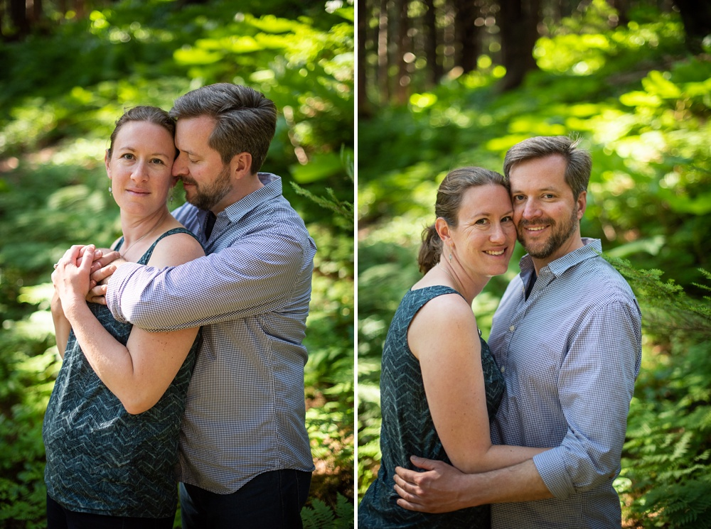 An engaged couple at the Jensen-Olson Arboretum outside of Juneau, Alaska. Engagement portrait photography by Sonja Salzburg of Sonja K Photography.