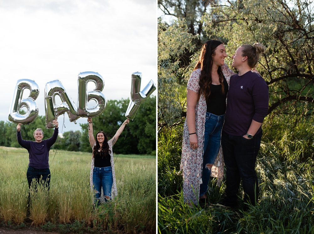 A proud expecting couple at Lee Martinez Park in Fort Collins, Colorado. Maternity portrait photography by Sonja Salzburg of Sonja K Photography.