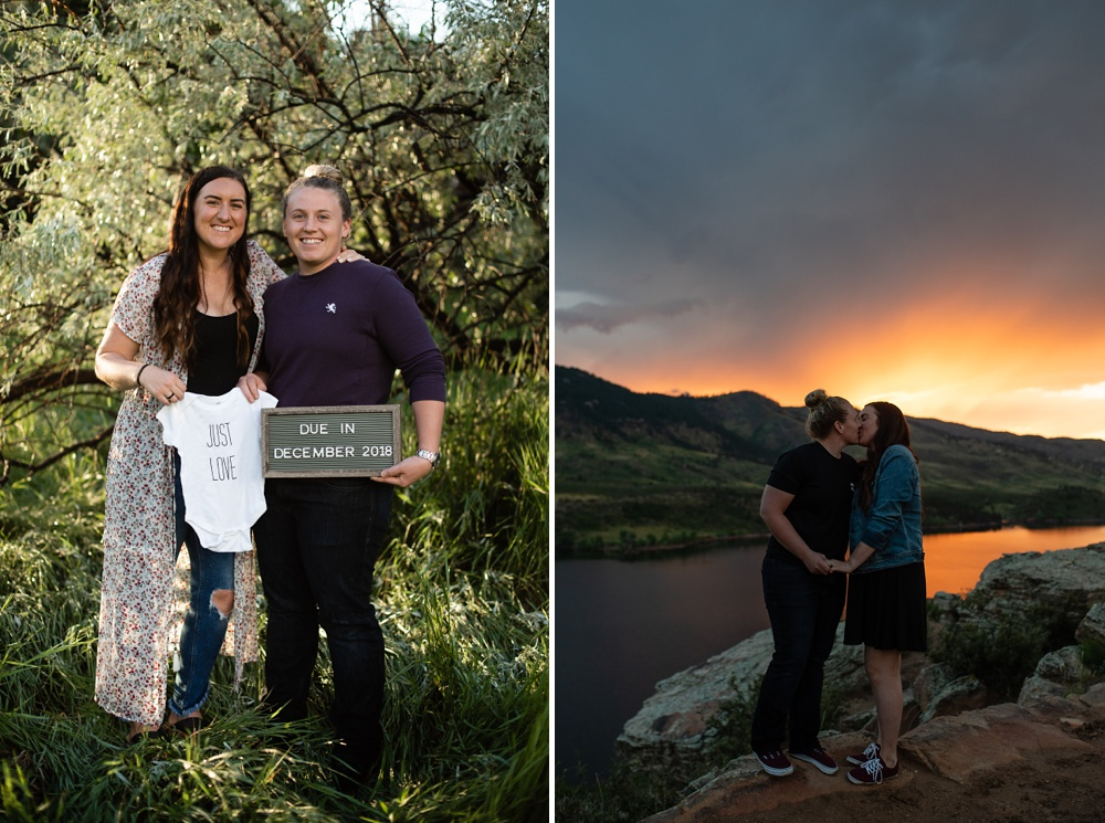 A happy expecting couple at Lee Martinez Park and Duncan Ridge in Fort Collins, Colorado. Maternity portrait photography by Sonja Salzburg of Sonja K Photography.