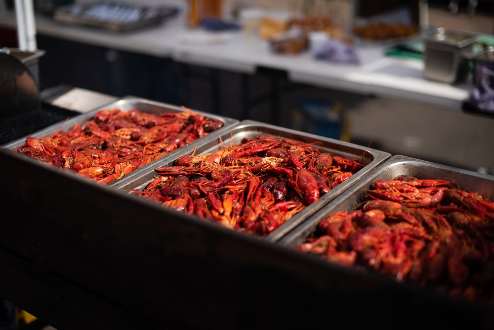 Crawfish from Fish Restaurant and Market at the Fortified Collaborations Second Sunday Supper in Fort Collins, Colorado. Food, Beverage and Event photography by Sonja Salzburg of Sonja K Photography.