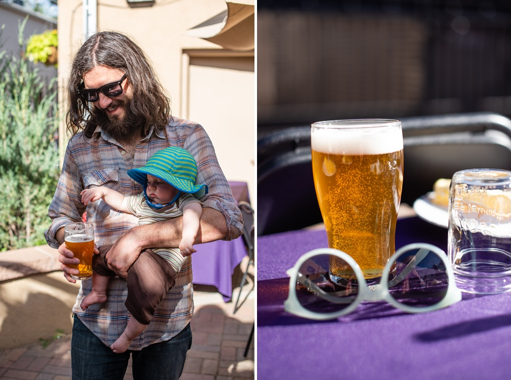 A father and his child and beer by Equinox Brewing at the Fortified Collaborations Second Sunday Supper in Montezuma Fuller Alley in Fort Collins, Colorado. Event and Food and Beverage photography by Sonja Salzburg of Sonja K Photography.