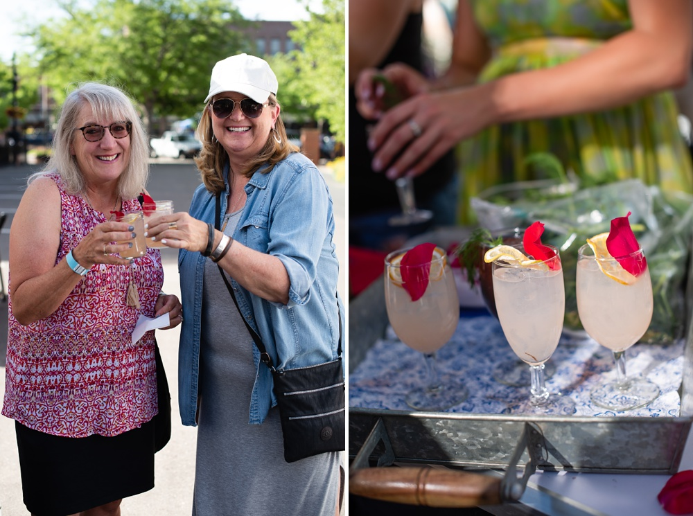 People enjoying drinks by CopperMuse Distillery at the Fortified Collaborations Second Sunday Supper in Montezuma Fuller Alley in Fort Collins, Colorado. Event and Food and Beverage Photography by Sonja Salzburg of Sonja K Photography.