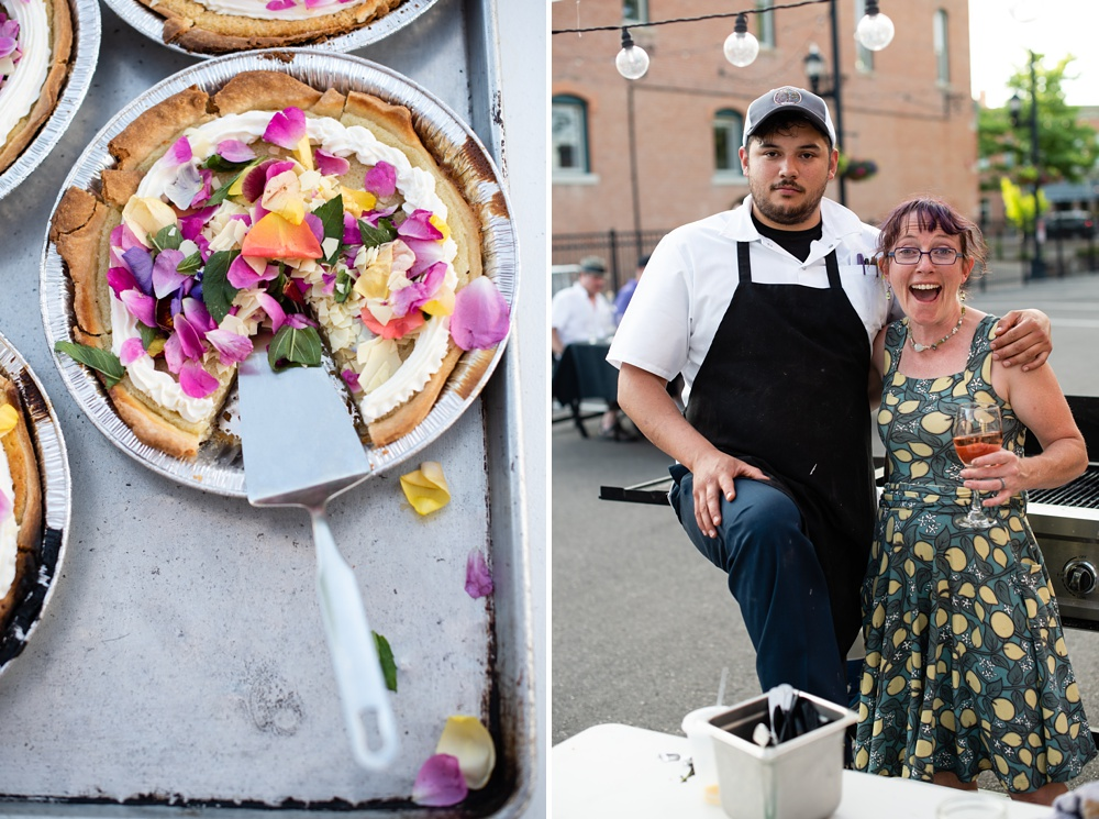Dessert is served and Chef Ryan and Kat of Fish Restaurant at the Fortified Collaborations Second Sunday Farm Dinner in Montezuma Fuller Alley in Old Town Fort Collins, Colorado. Event and food and beverage portrait photography by Sonja Salzburg of Sonja K Photography.