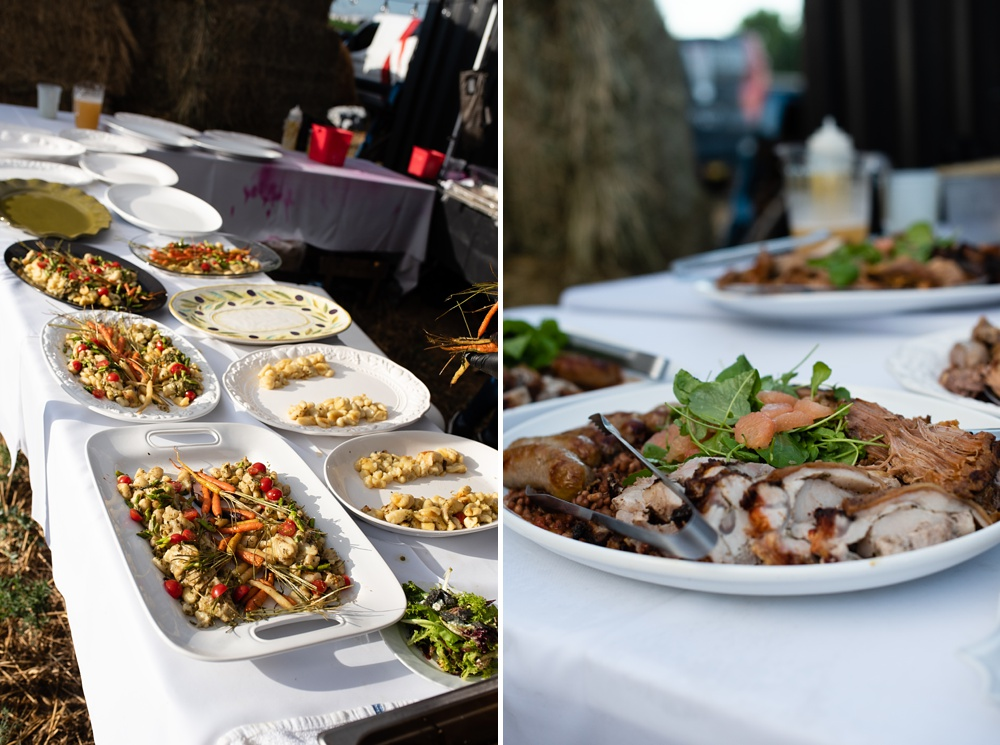 Dinner is prepared at the 2018 Heart of Summer Farm Dinner at Colorado Stock and Grain Farm presented by Fortified Collaborations. Cuisine by Dryden Gross of Locality. Event and Food and Beverage photography by Sonja Salzburg of Sonja K Photography.