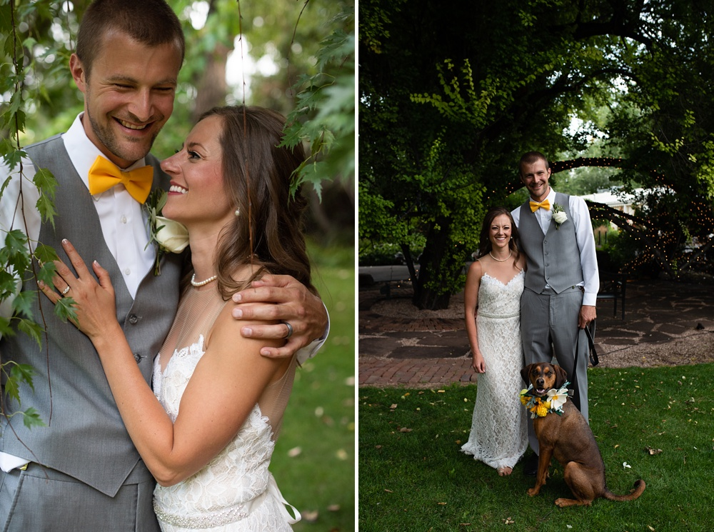 A newly married couple on their wedding day at the Tapestry House outside of Laporte, Colorado. Wedding photography by Sonja Salzburg of Sonja K Photography.