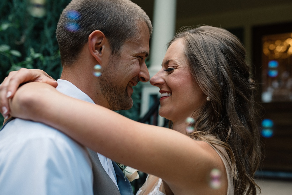 A bride and groom on their wedding day at the Tapestry House in Laporte, Colorado. Wedding photography by Sonja Salzburg of Sonja K Photography.