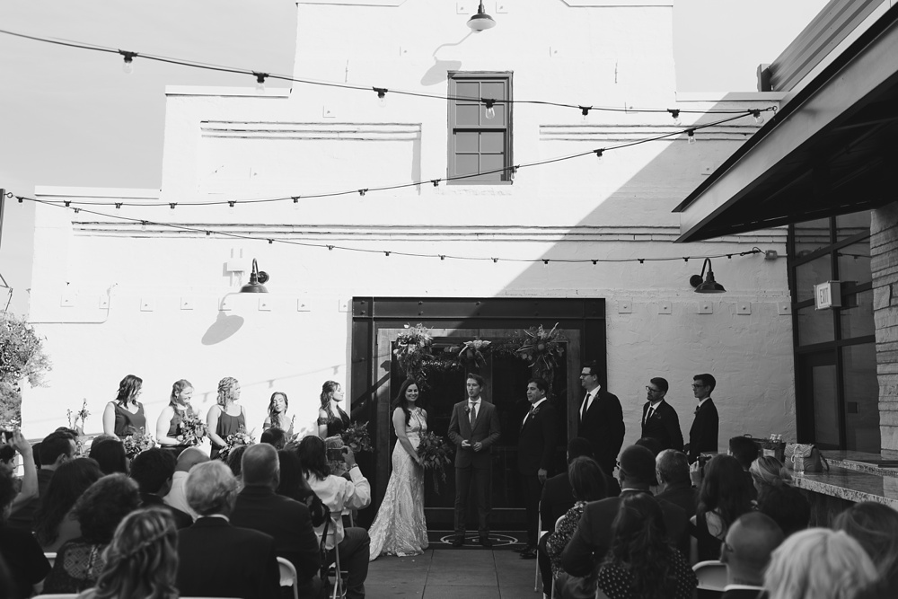 A wedding ceremony on the top of Ginger and Baker in Fort Collins, Colorado. Wedding photography by Sonja Salzburg of Sonja K Photography.
