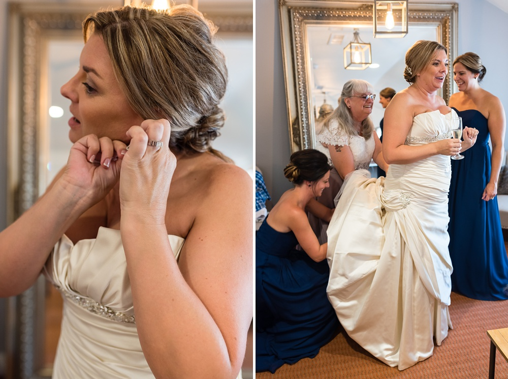 A bride gets ready for her wedding day at Wedgewood Weddings on Boulder Creek outside of Boulder, Colorado. Wedding photography by Sonja Salzburg of Sonja K Photography.