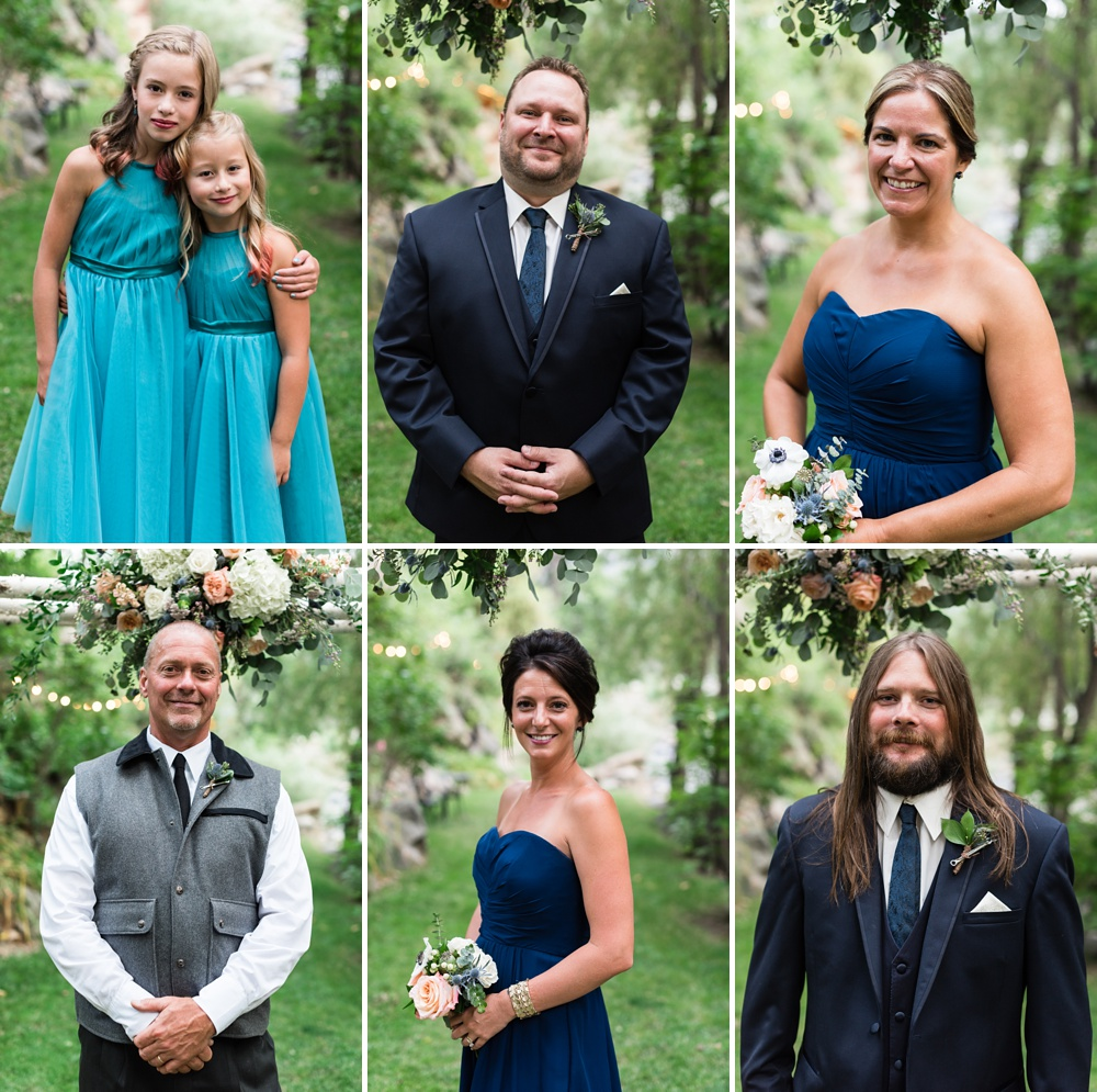 Head shots of the bridal party at a wedding at Wedgewood Weddings on Boulder Creek outside of Boulder Creek. Wedding portrait photography by Sonja Salzburg of Sonja K Photography.