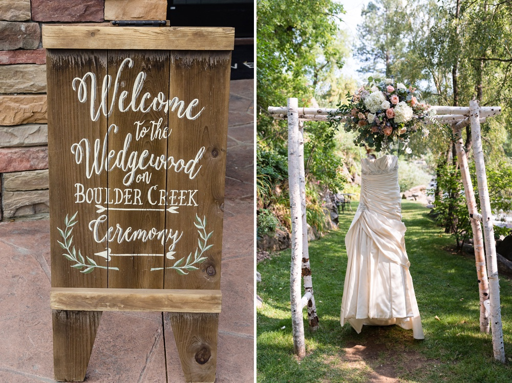 The sign at Wedgewood Weddings on Boulder Creek and the bride's dress at a wedding outside of Boulder, Colorado. Wedding photography by Sonja Salzburg of Sonja K Photography.