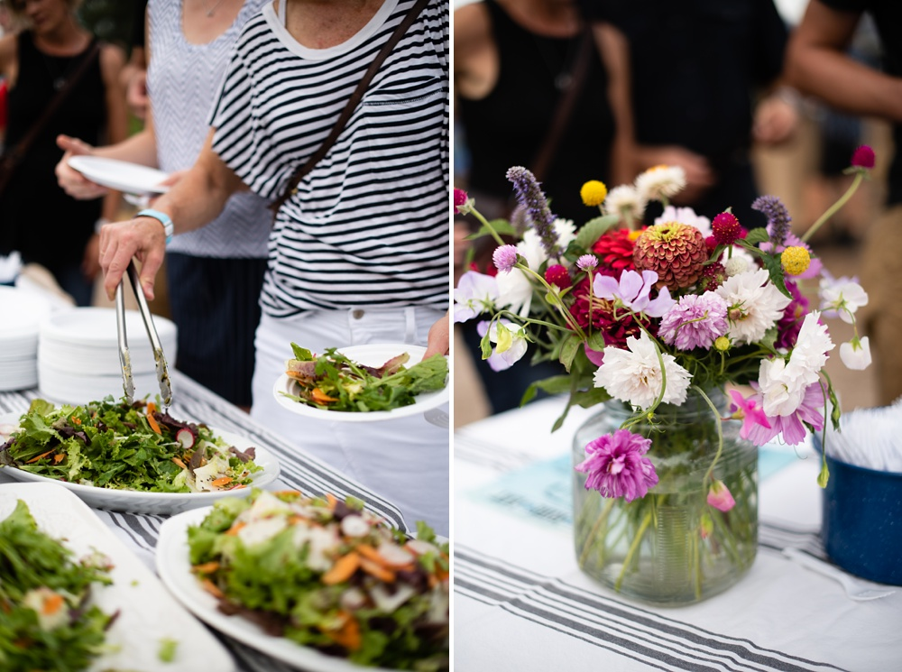 Salad is served at the 3 Forks Progressive Farm Dinner presented by Fortified Collaborations. Event and Food and Beverage photography by Sonja Salzburg of Sonja K Photography.