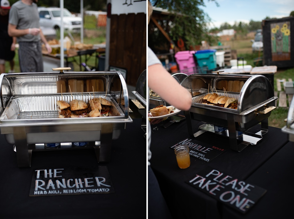The chicken sandwiches from Backyard Bird from Chef Matt Smith at the Fortified Collaborations 3 Forks Progressive Farm Dinner in Fort Collins, Colorado. Event and food and beverage photography by Sonja Salzburg of Sonja K Photography.