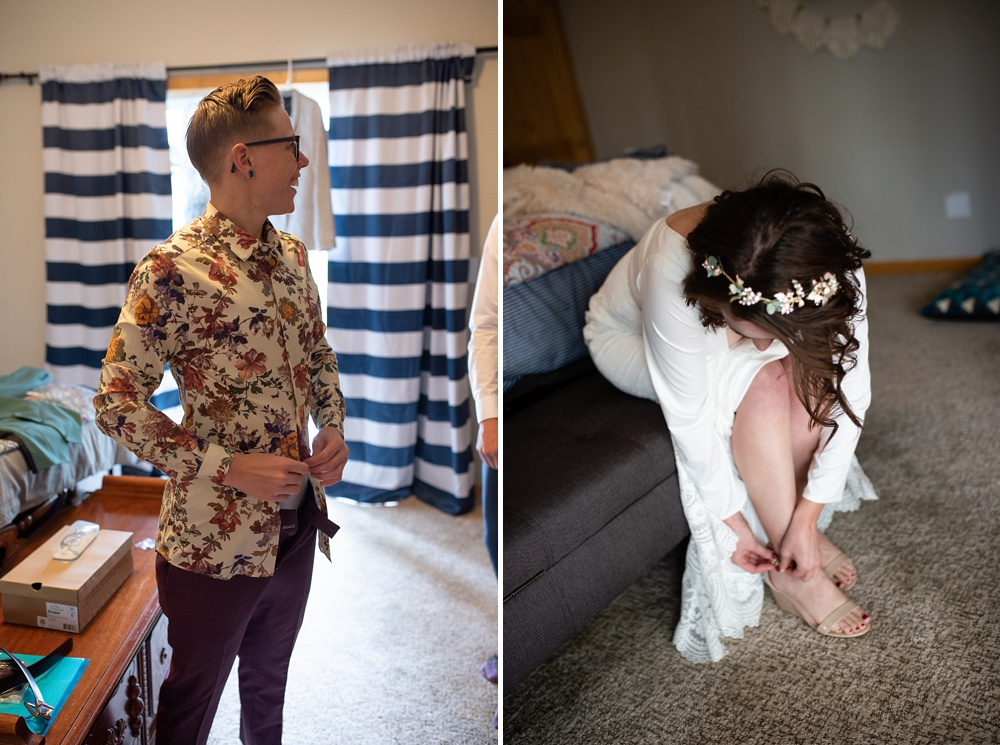 Two women get ready for their lesbian wedding in Fraser, Colorado. Gay wedding photography by Sonja Salzburg of Sonja K Photography.
