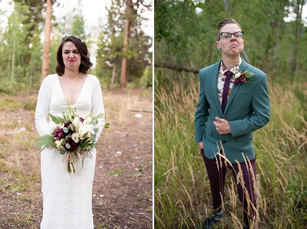 Funny headshots from a lesbian wedding near Fraser, Colorado. Gay wedding photography by Sonja Salzburg of Sonja K Photography.