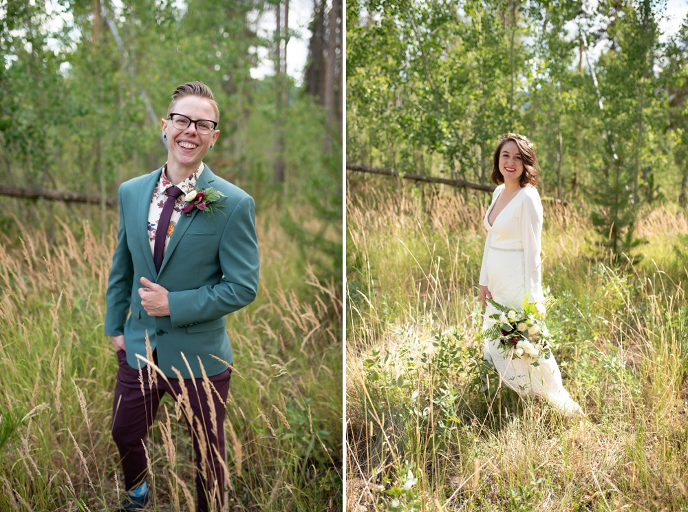 Two women on their wedding day near Fraser, Colorado. Gay wedding photography by Sonja Salzburg of Sonja K Photography.