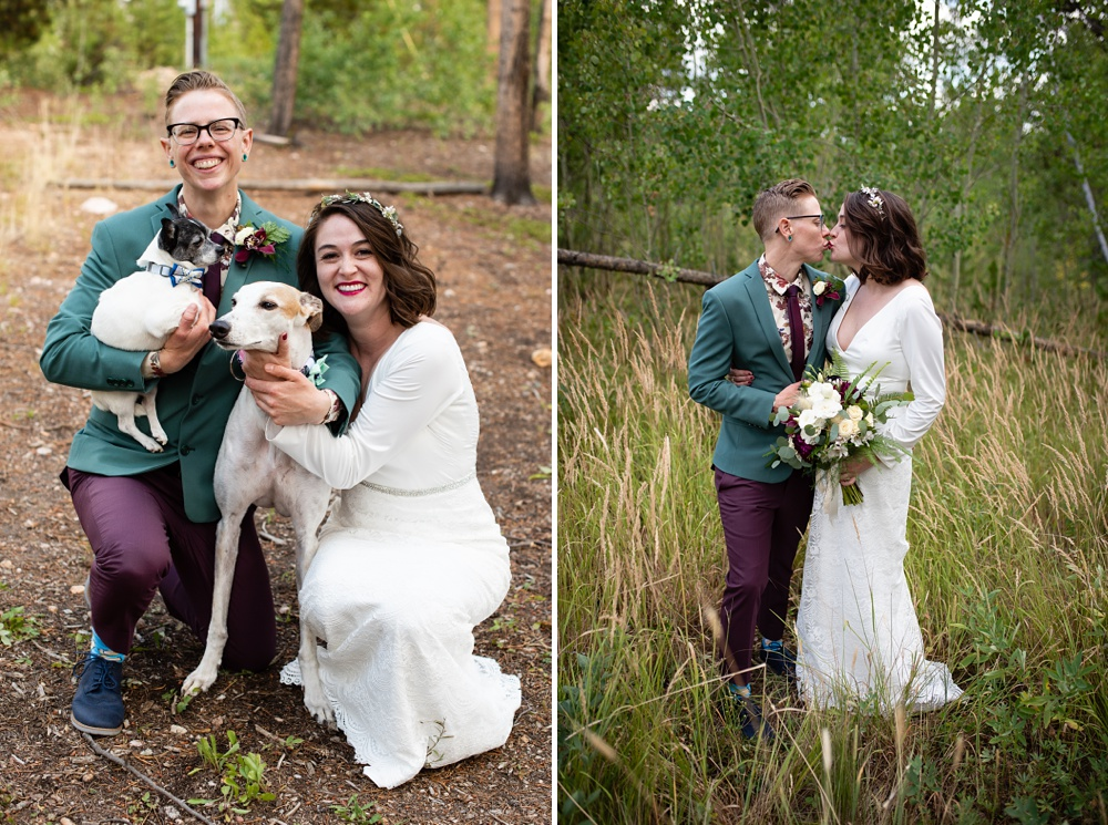 A married lesbian couple and their dogs on their wedding day near Fraser, Colorado. Gay wedding photography by Sonja Salzburg of Sonja K Photography.