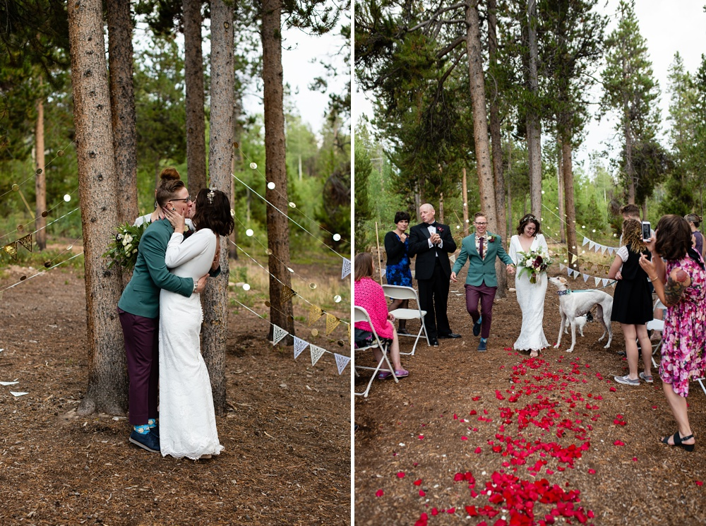 A married couple kiss on their wedding day outside of Fraser, Colorado. Gay wedding photography by Sonja Salzburg of Sonja K Photography.