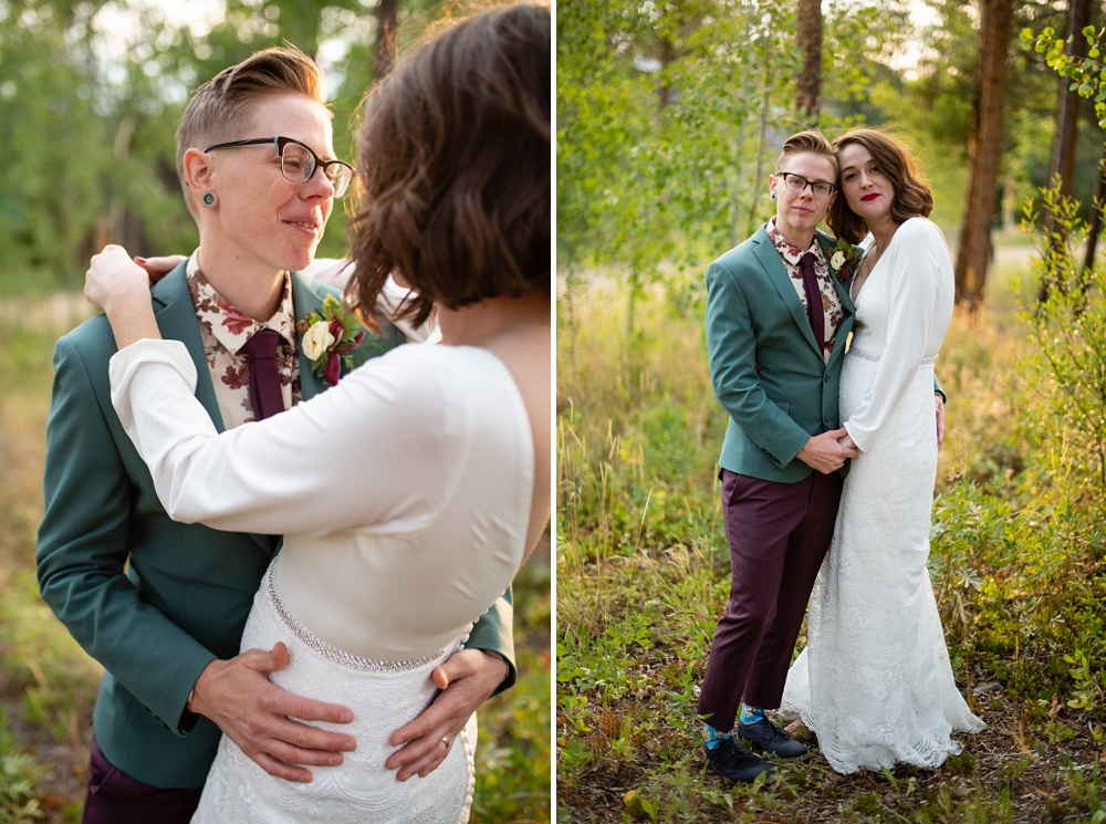 A lesbian couple on their wedding day outside of Fraser, Colorado. Gay wedding photography by Sonja Salzburg of Sonja K Photography.