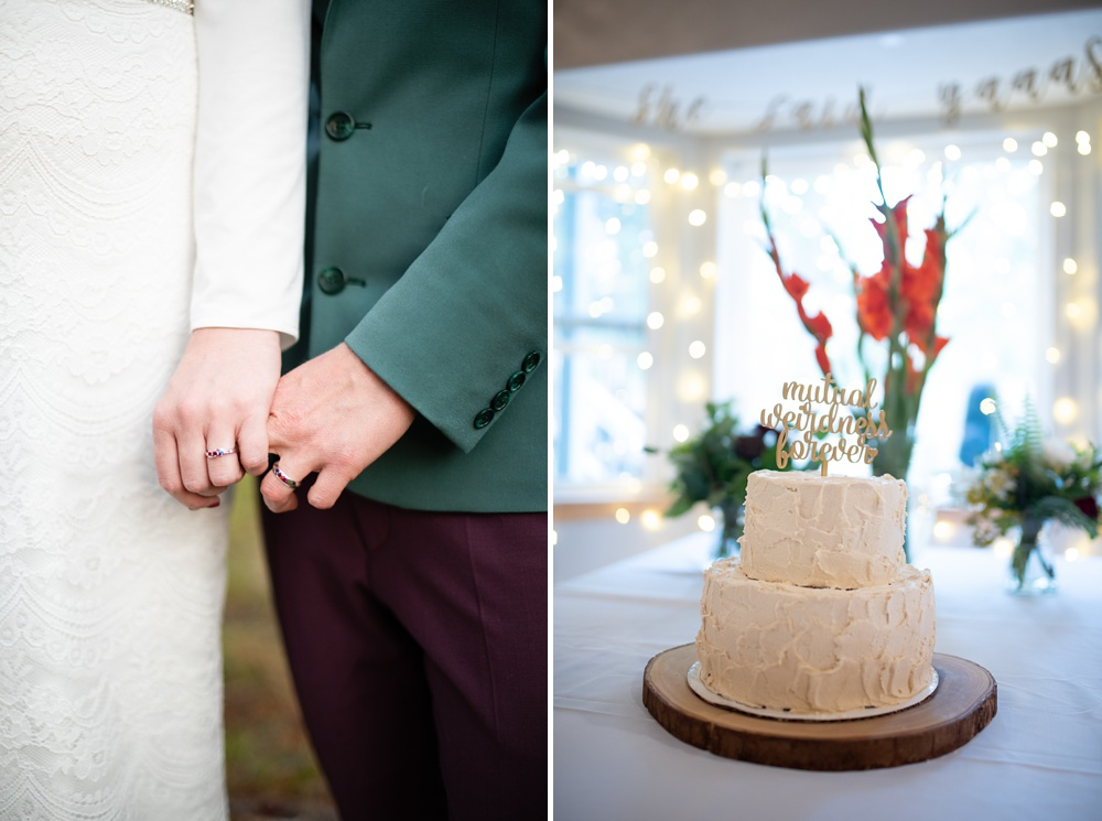 Detail shots from a lesbian wedding in Fraser, Colorado. Cake by Make Believe Bakery in Denver, Colorado. Gay wedding photography by Sonja Salzburg of Sonja K Photography.