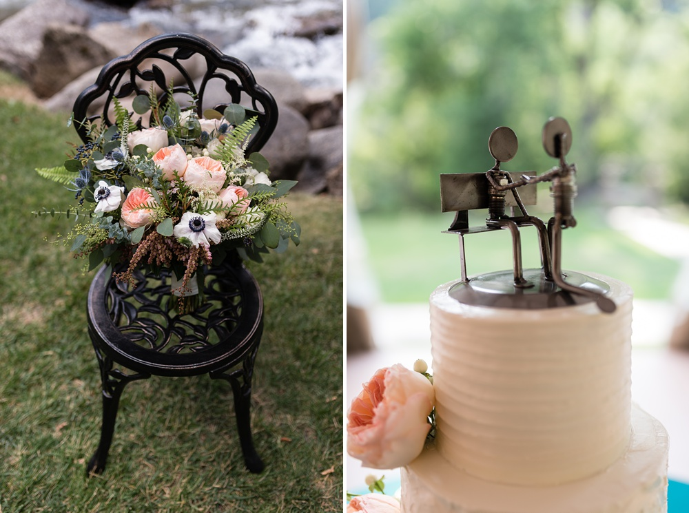 blush peonies and gorgeous florals near a river at Wedgewood Tapestry House Boulder Creek in Colorado, with a custom cake topper and peach flowers on a wedding cake - photography by Sonja Salzburg of Sonja K Photography