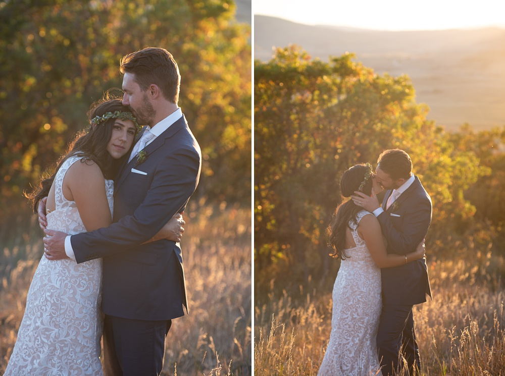 Romantic sunset images of a bride and groom on their wedding day at Bella Vista Estate in Steamboat Springs, Colorado. Photography by Sonja Salzburg of Sonja K Photography.