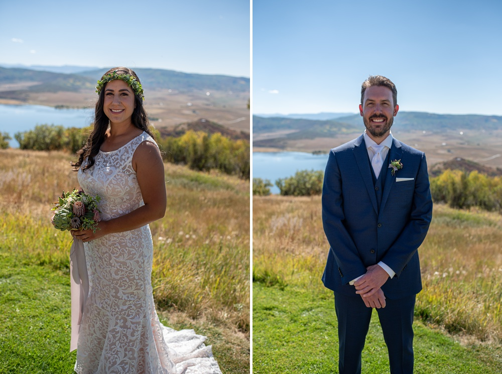 A stunning bride with her bouquet and a handsome portrait of a groom at the Bella Vista Estate in Steamboat Springs, Colorado. Photography by Sonja Salzburg of Sonja K Photography