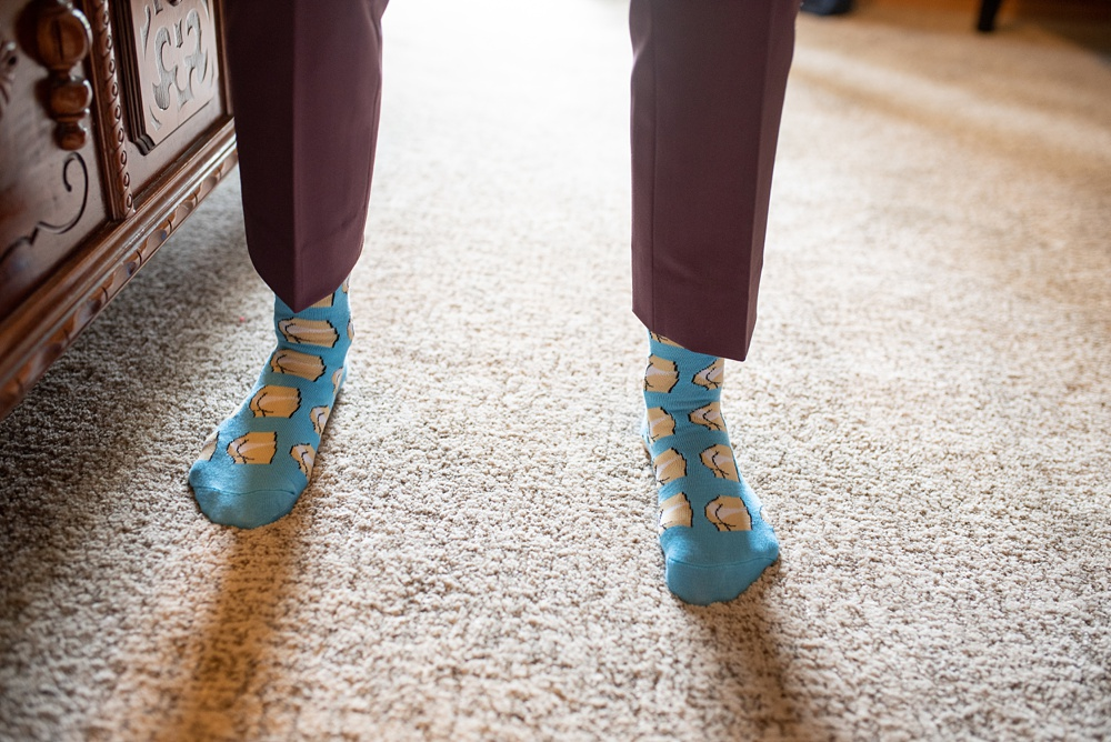 hilarious butt socks worn by a dapper bride at her intimate Colorado wedding