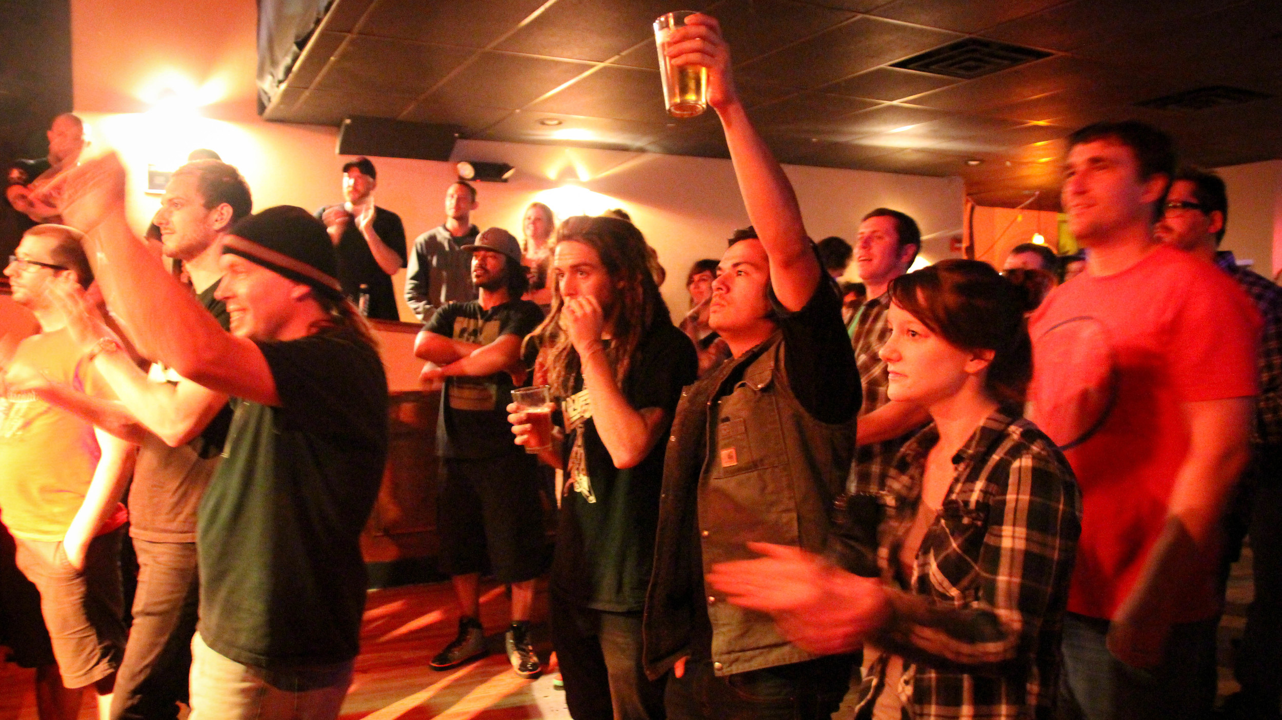 The enthusiastic crowd at Food Fight, Battle of the Bands