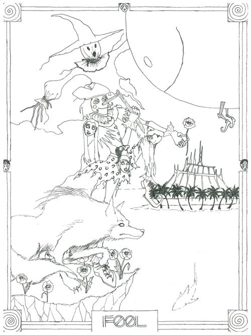 The Fool illustration pre-colorization