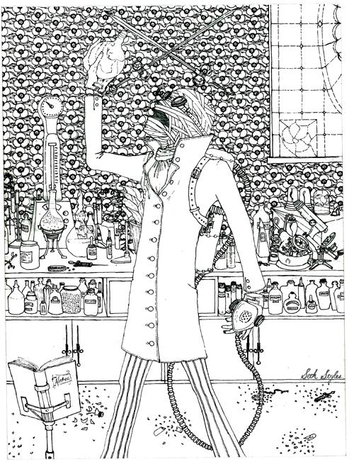 The Invisible Man pre-watercolor...