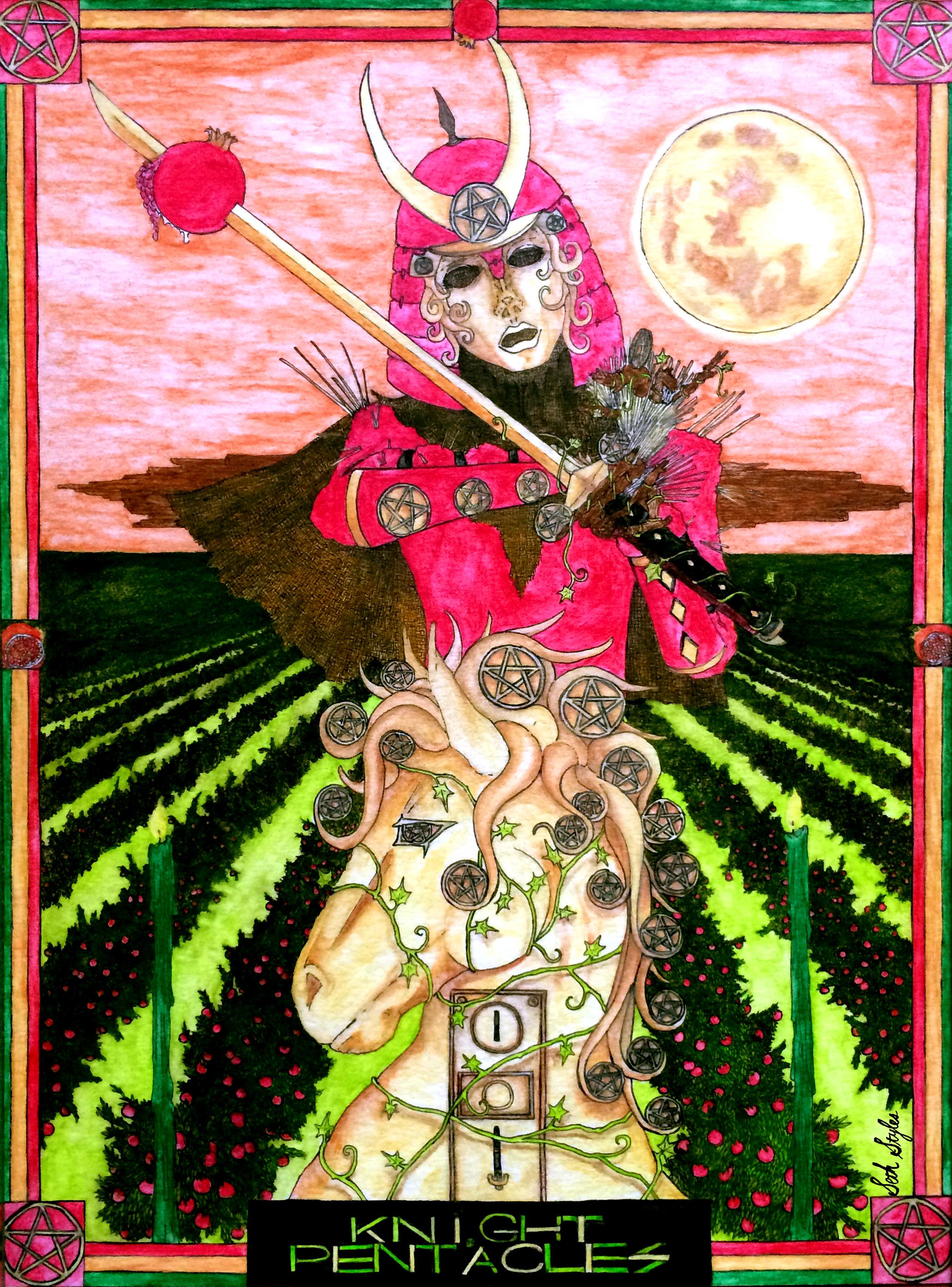 knight-of-pentacles-tarot-occult-seth-styles-minor-arcana-samurai-scarecrow-money-success-abundance