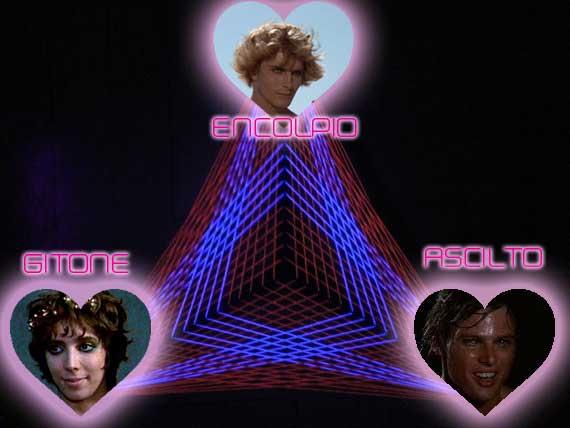The Ancient Roman love triangle of Encolpio > Gitone > Ascilto.