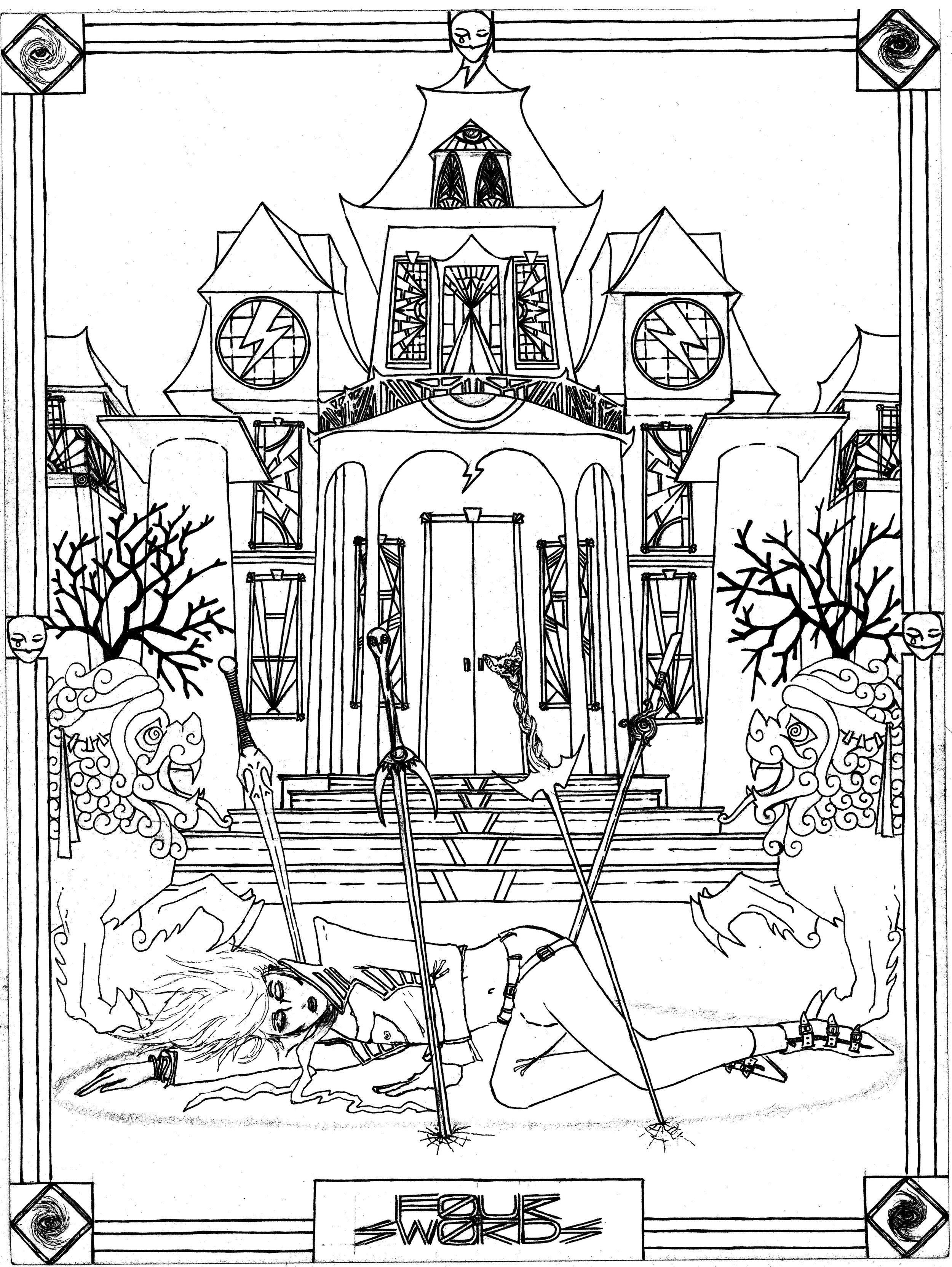 Four-of-Swords-black-and-white-haunted-house-horror-fantasy