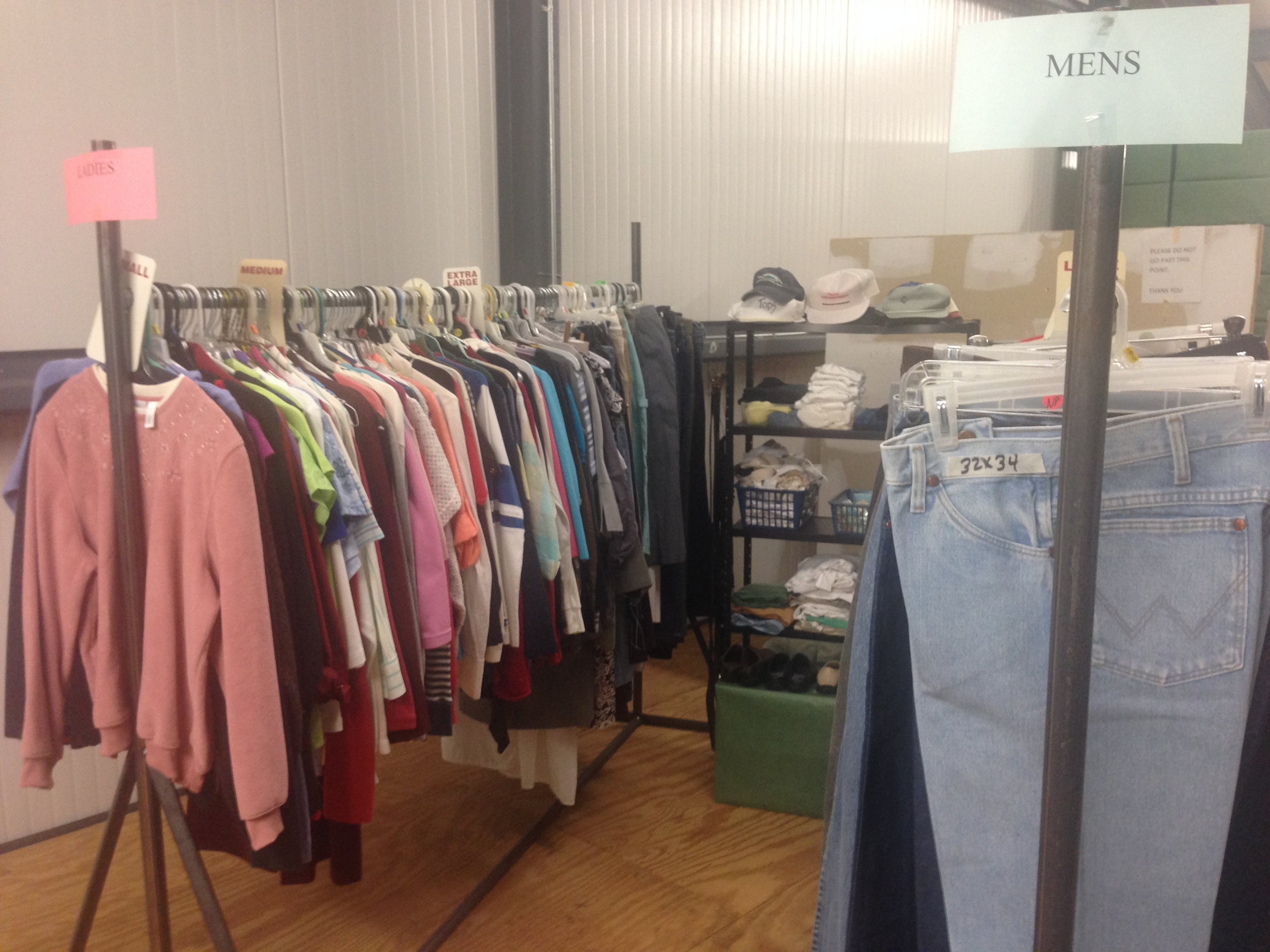 Clothes Closet - mostly winter clothes and shoes for adult men and women. Usually open when we have our meal ministry.