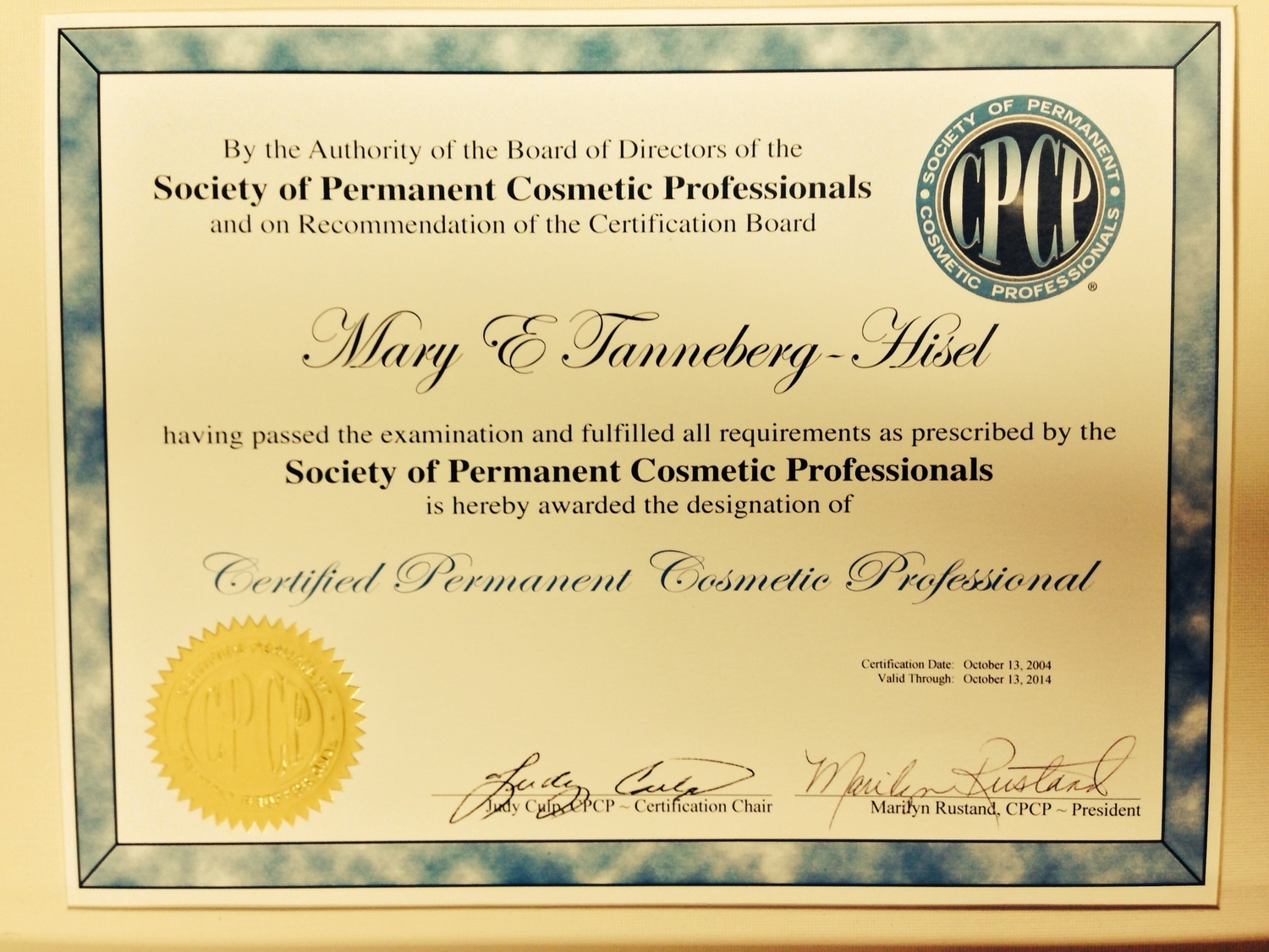 Certified Permanent Cosmetic Professional
