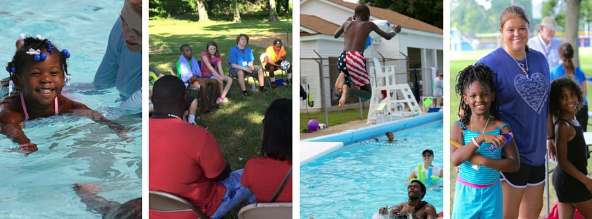 L to R: Preschool Swim Camp, Camp GO for 13-15 year olds, Swim Camp for 6-12 year olds at the pool and with their color group.
