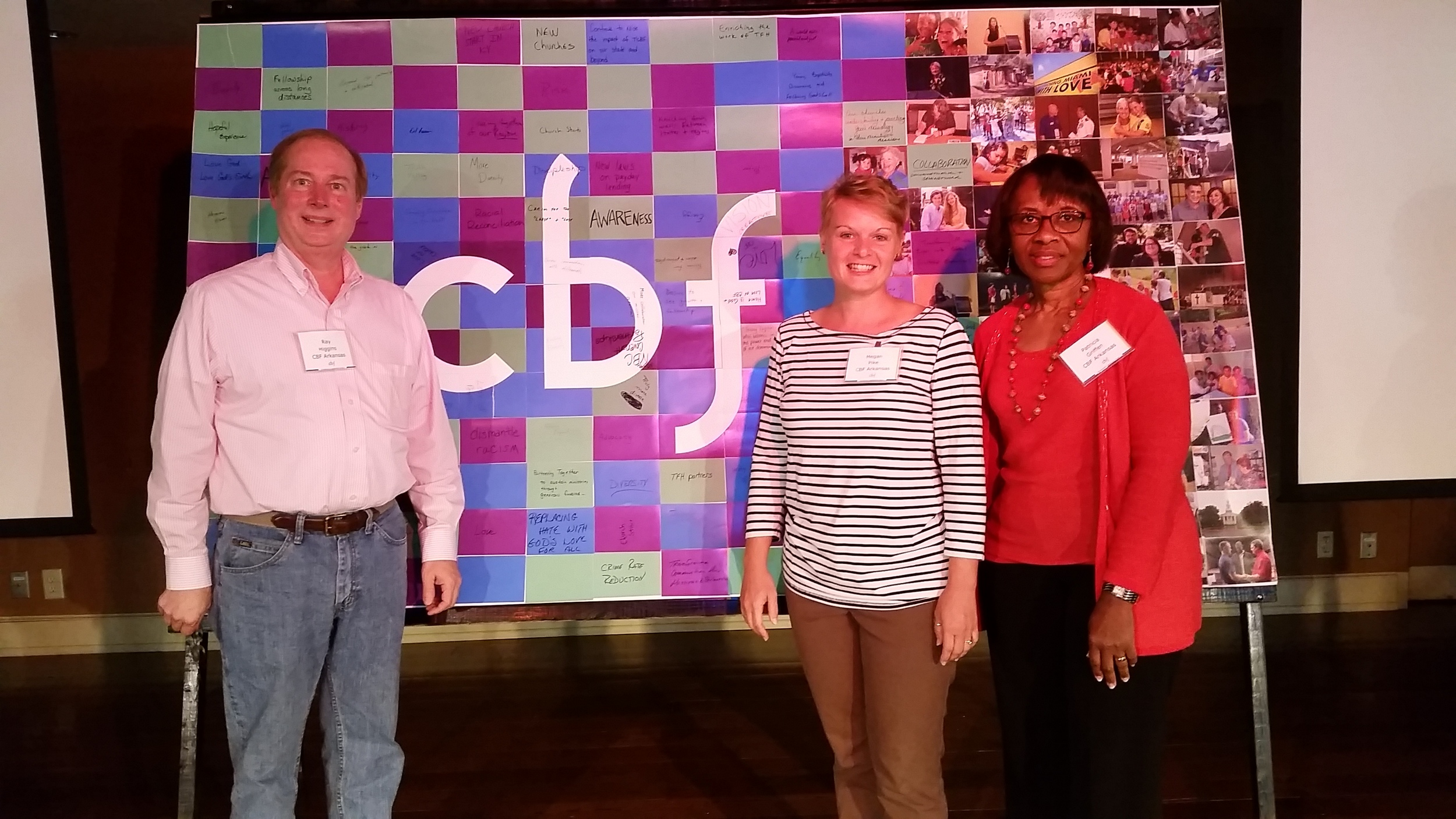 Ray Higgins, Megan Pike, and Pat Griffen with the CBF MLT Thematic Devotional project behind