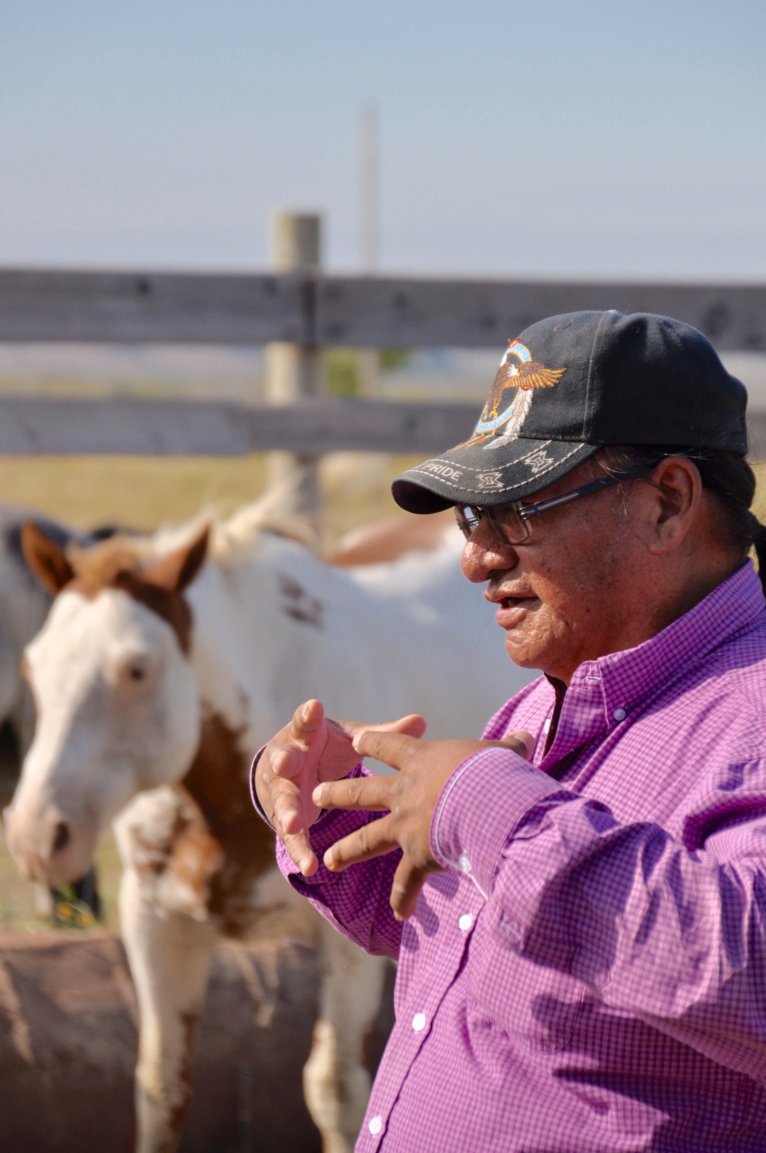 Byron Buffalo giving participants instruction on how to work with Rosebud (in background).  photo courtesy of Stephen Reeves