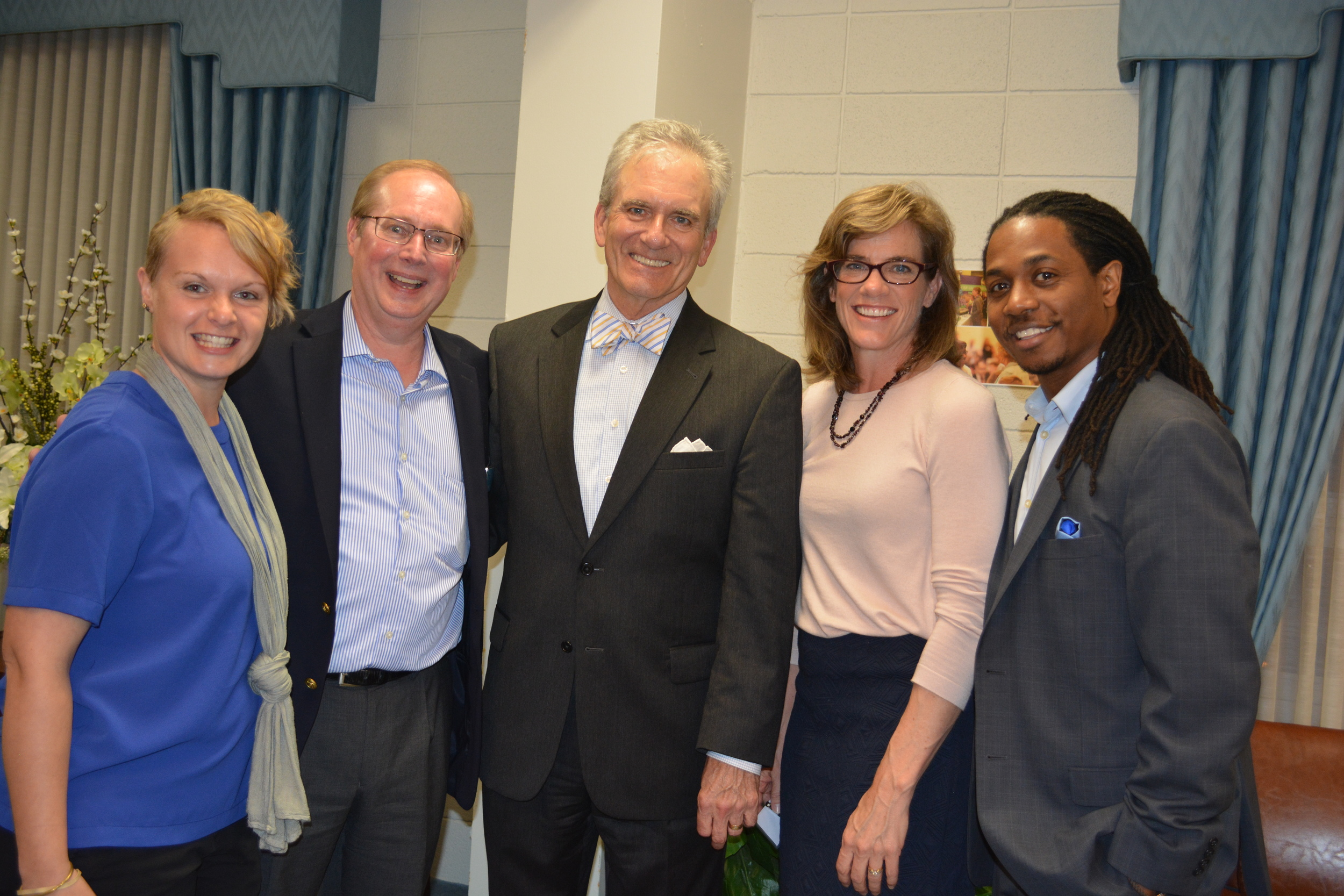 L to R: Megan Pike, CBFAR Associate Coordinator; Ray Higgins, CBFAR Coordinator; Brent Walker, BJC Executive Director; Holly Hollman, BJC Associate Executive Director; and Charles Watson, Jr., BJC Education and Outreach Specialist. CBFAR hosted a reception after the Friday evening session in Hyde Parlor at Pulaski Heights Baptist.  For more photos from the weekend  click here .