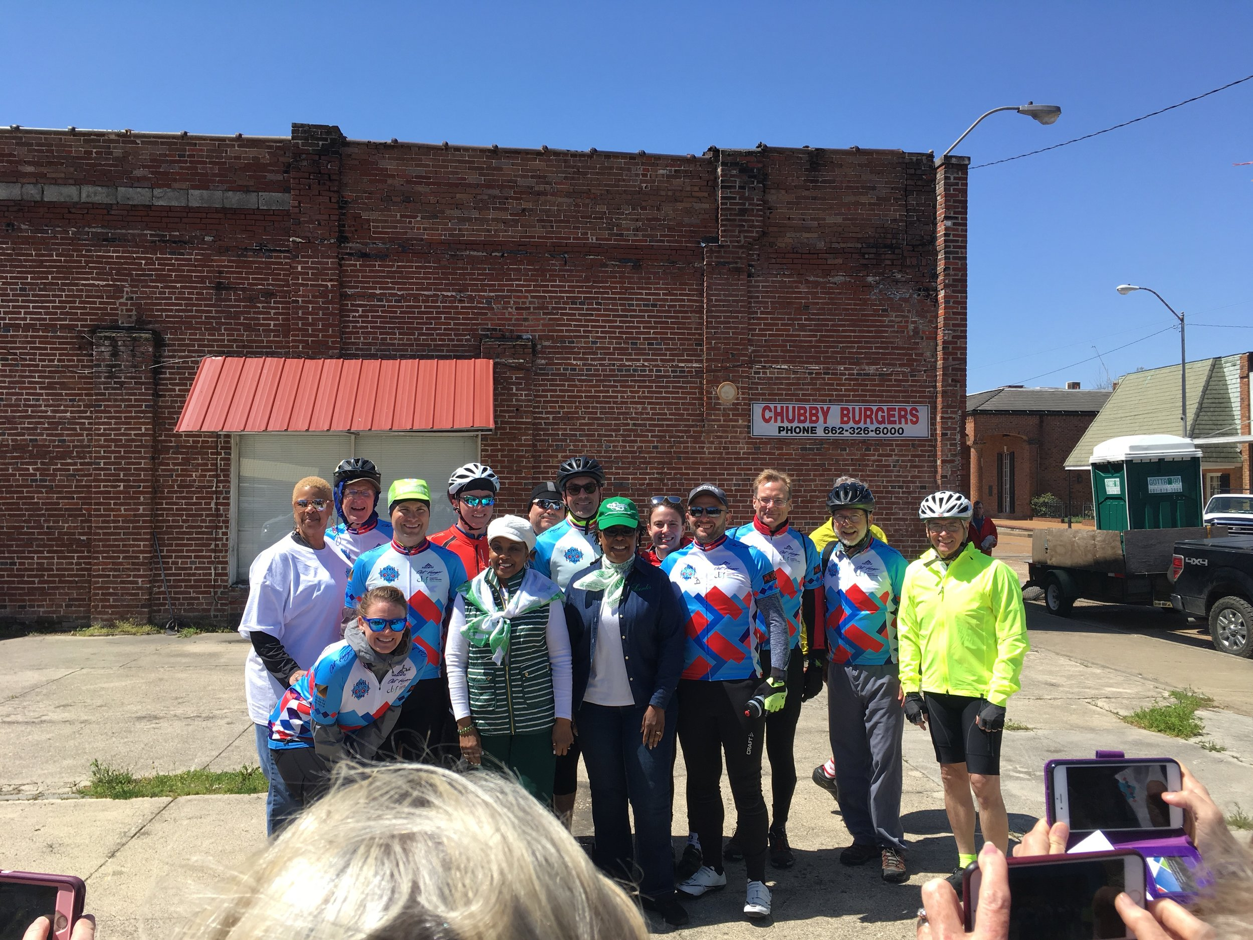 Riders leaving Marks, Ms for Cleveland, MS. In downtown Marks