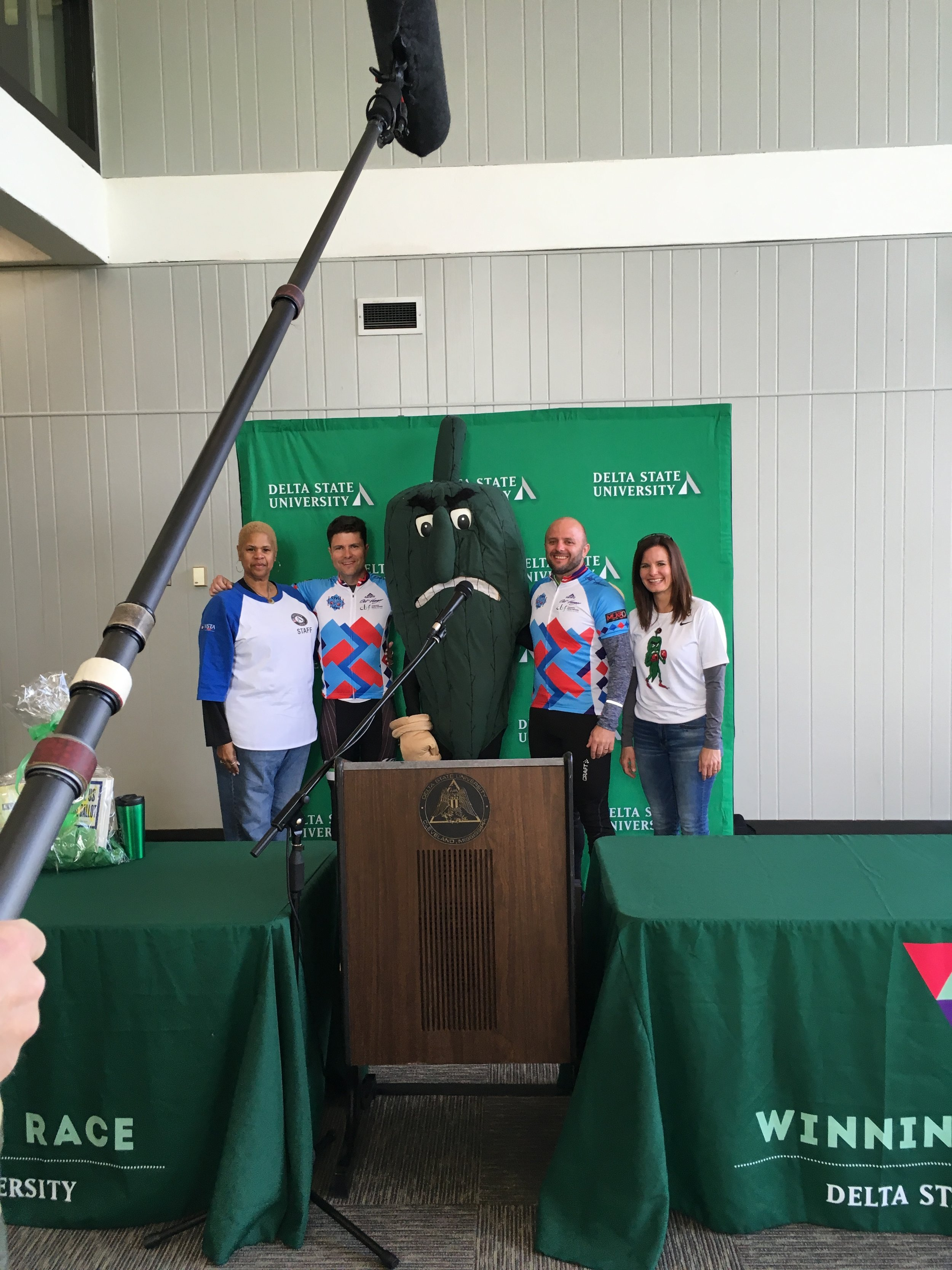 Civil Rides Lead Team with the Delta State Fighting Okra Mascot.
