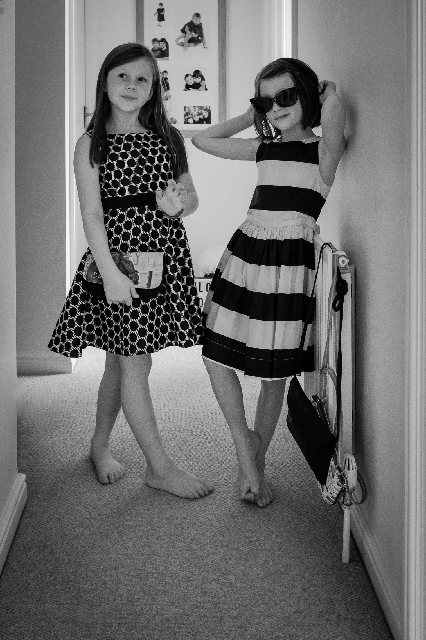 Sisters dressed up at home during documentary family photoshoot in Nottingham