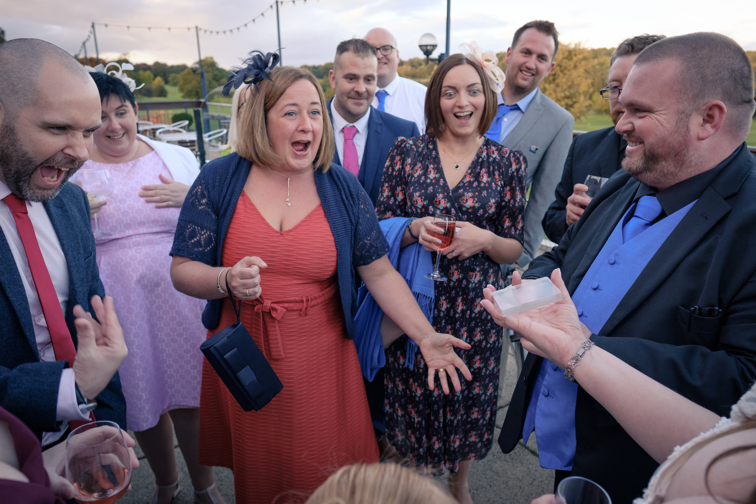 Morley Hayes wedding guests react to magic trick