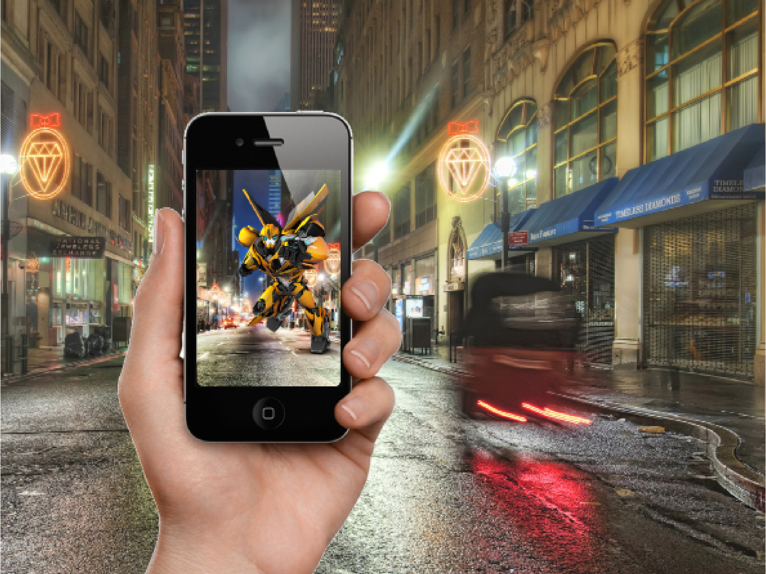 We used Mobile AR to allow kids to use their iPhone or iPad to take photos, record videos or just enjoy the view through their phone's screen — whi Hasbro Studio characters popping into the scene becoming part of their world. Videos can be shared and posted to social media sites.